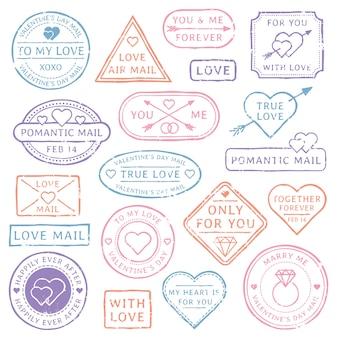 Carte postale lettre d'amour vintage, cachets de la saint-valentin.