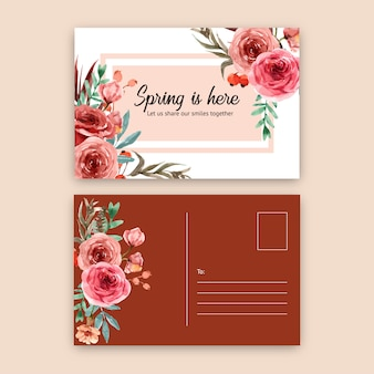 Carte postale de lueur de braise florale de style vintage avec illustration aquarelle rose.