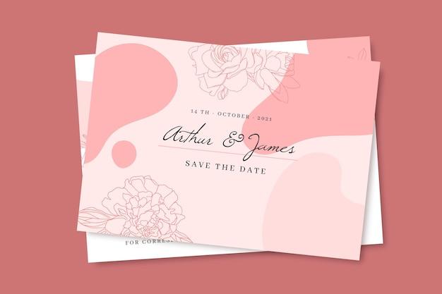 Carte postale de mariage monochrome de doodle