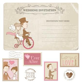 Carte postale de mariage et timbres-poste