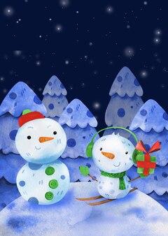 Carte postale mignonne d'amis de bonhommes de neige d'encre d'aquarelle avec des flocons de neige