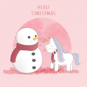 Carte postale mignonne de licorne et de bonhomme de neige joyeux Noël