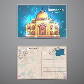 Carte postale avec mosquée sur le fond créatif pour célébrer la fête islamique du ramadan kareem