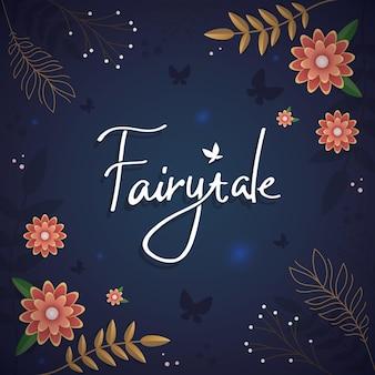 Carte postale mystique de couverture de livre de conception florale enchantée