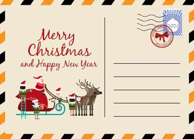 Carte postale de noël et du nouvel an avec timbres et marque.