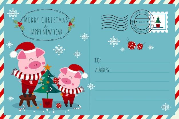 Carte postale de noël et du nouvel an