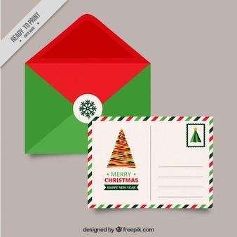 Carte postale de noël avec enveloppe verte et rouge