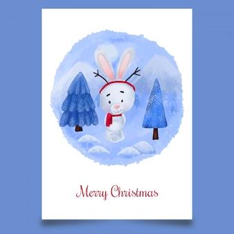 Carte postale de noël avec un joli lapin