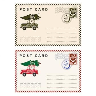 Carte postale de noël avec lettre de vacances modèle timbre isolé sur blanc.