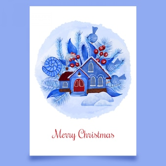 Carte postale de noël avec la neige de la maison bleue