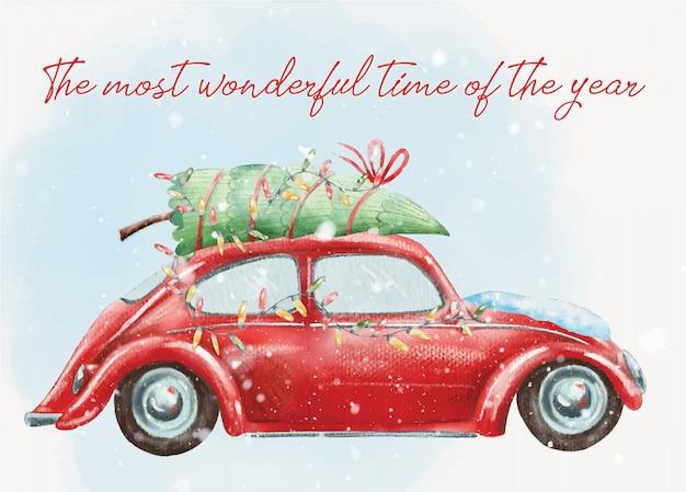 Carte postale de noël peinte à la main avec une jolie voiture rétro rouge