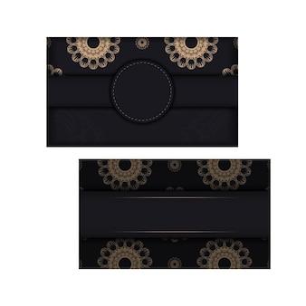 Carte Postale Noire Avec Une Luxueuse Ornementation Brune Préparée Pour La Typographie. Vecteur Premium