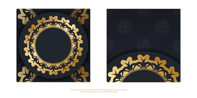 Carte postale noire avec motif doré vintage pour votre marque.