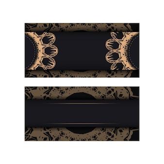 Carte postale noire avec motif marron vintage pour votre marque.