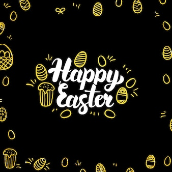 Carte postale noire d'or de joyeuses pâques. illustration vectorielle de calligraphie de vacances de printemps avec décoration dorée.