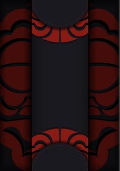 Carte postale noire avec ornements vintage maoris et place pour votre texte et logo. arrière-plan de conception prêt à imprimer avec des ornements luxueux.
