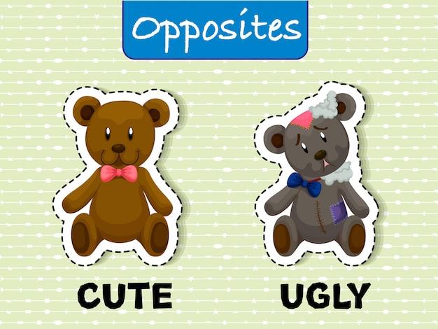 Carte postale opposée pour mignonne et moche