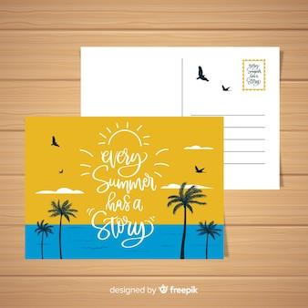 Carte postale de paysage de plage de vacances d'été