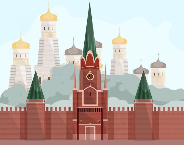 Carte postale. place rouge de moscou avec des dômes d'or.
