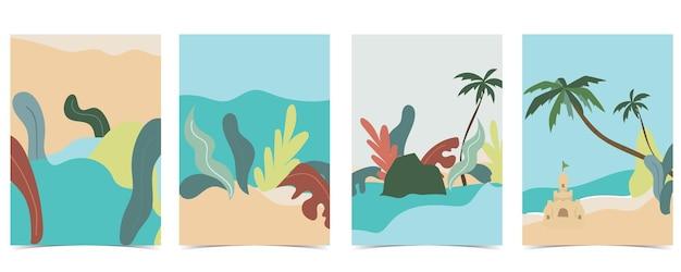 Carte postale de plage avec soleil, mer et ciel pendant la journée
