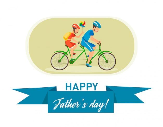 Carte postale plate avec inscription fête des pères heureux.