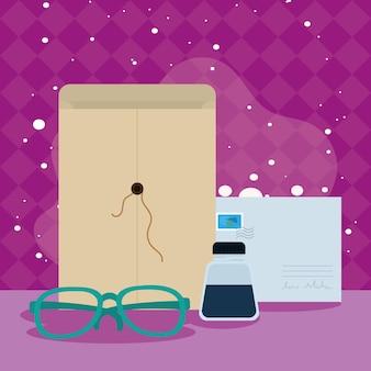 Carte postale postale et lunettes