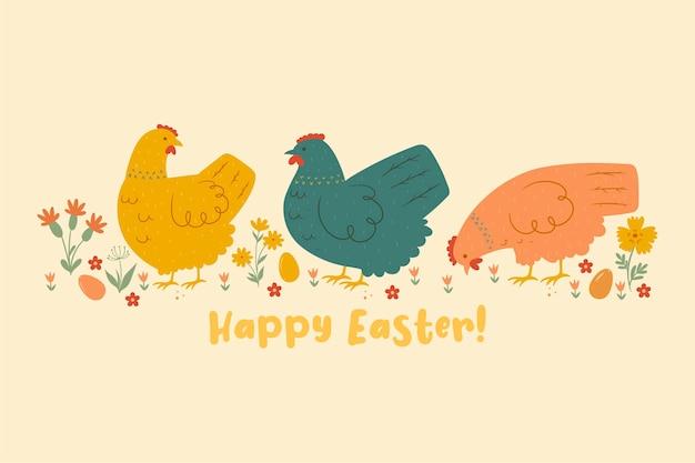 Carte postale avec des poulets et des fleurs. joyeuses pâques.