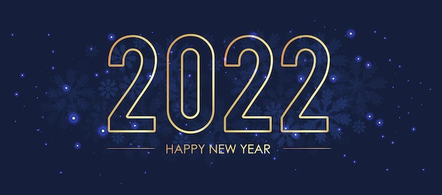 Une carte postale pour l'an deux mille vingt deux. sur un fond sombre avec des paillettes et des flocons de neige