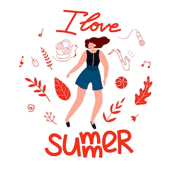 Carte postale pour fille j'aime l'été, dessin animé