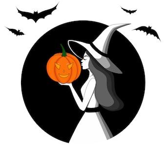 Carte postale pour la sorcière d'halloween dans un chapeau avec une citrouille