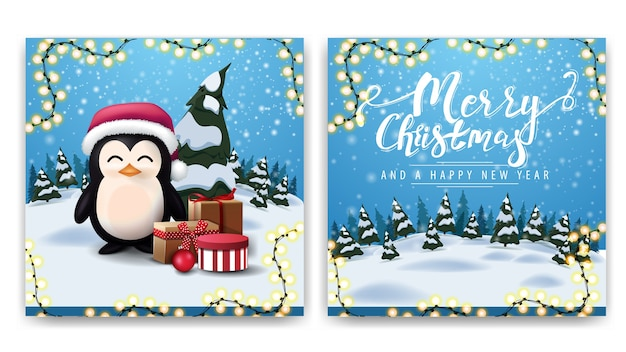 Carte postale recto verso carrée de noël avec paysage d'hiver de dessin animé et pingouin en chapeau de père noël