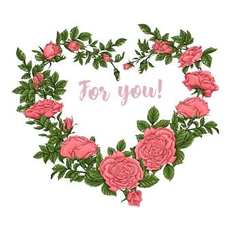 Carte postale roses de corail. main, dessin d'illustration vectorielle