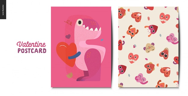 Carte postale saint valentin avec dinosaure