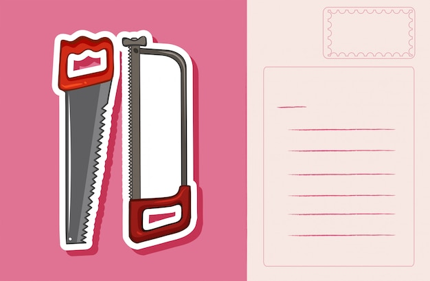 Carte postale avec scie à main rose