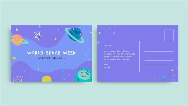 Carte postale de la semaine de l'espace doodle mignon