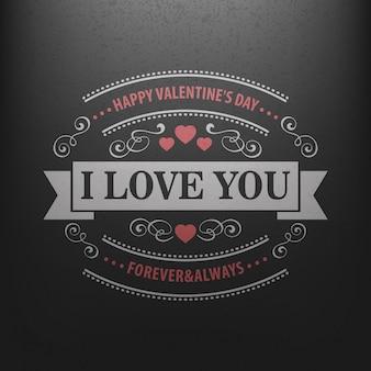 Carte postale de typographie happy valentine day sur un tableau noir.