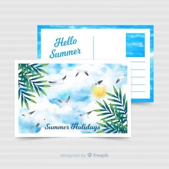 Carte postale de vacances d'été aquarelle