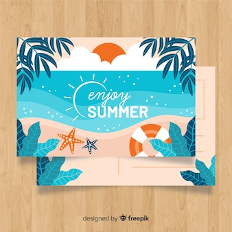 Carte postale de vacances d'été dessiné à la main
