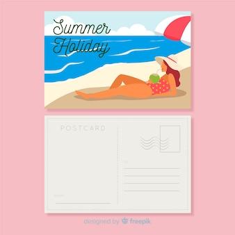 Carte postale de vacances d'été plat