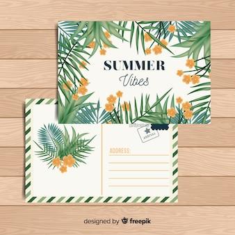 Carte postale de vacances d'été tropicale plat