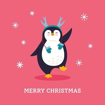 Carte postale de vacances d'hiver. salutation de noël de dessin animé de renguin. caractère d'hiver animal nouvel an. illustration isolée