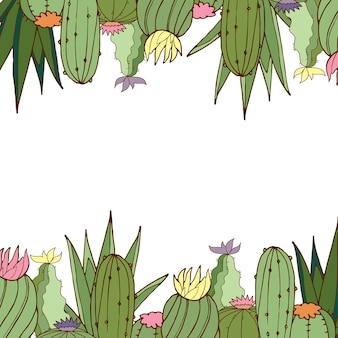 Carte postale. vecteur. cactus. carte postale lumineuse. illustration en couleur.