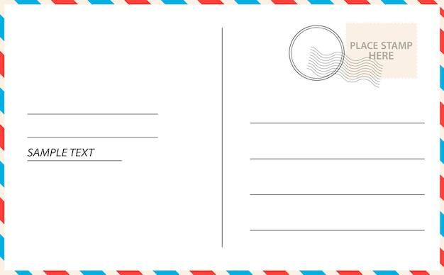Carte postale de vecteur avec du papier blanc. timbre de courrier vide de carte postale vectorielle et conception de message.