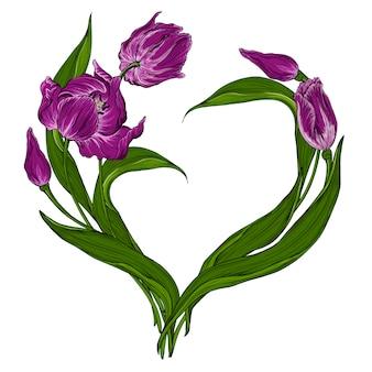 Carte postale de vecteur avec des fleurs de tulipe rose foncé floral.