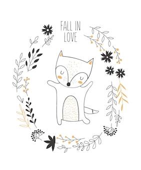 Carte postale vectorielle avec animal entouré d'une couronne de plantes avec slogan d'automne