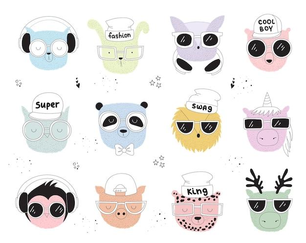 Carte postale vectorielle avec dessin au trait animal hipster avec slogan cool illustration doodle