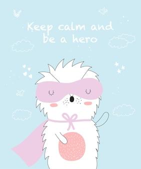 Carte postale vectorielle avec dessin au trait animal de super-héros avec slogan cool illustration doodle