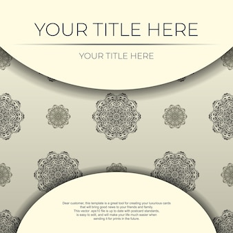 Carte postale vectorielle vintage en couleur crème clair avec ornement abstrait. conception de cartes d'invitation avec des motifs de mandala.