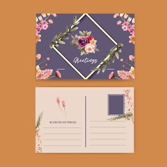 Carte postale de vin floral avec rose, lis calla, illustration aquarelle de blé.