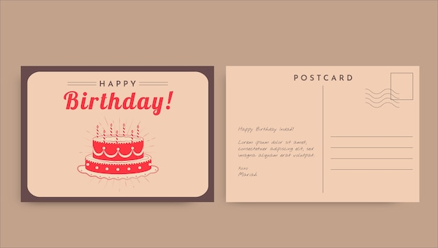 Carte postale vintage d'anniversaire d'indah
